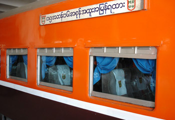 Upper class car, Rangoon-Mandalay express train.