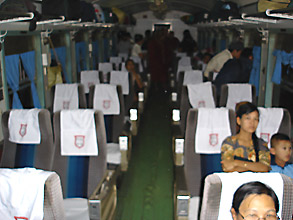 Modern Upper class seats on Rangoon (Yangon) to Mandalay train 5.