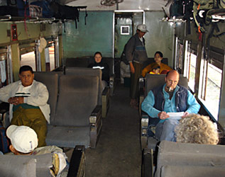 Older Upper class seats on the Shwenyaung-Thazi train.