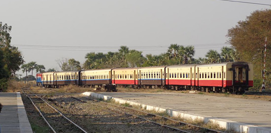 The Bagan to Yangon train being shunted at Bagan station