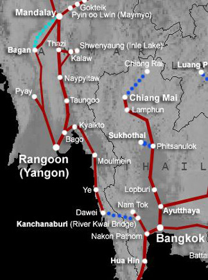 Map:  bangkok to Yangon