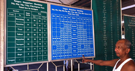 Train timetable and fare information boards at Yangon