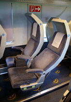 Reclining seats on a City Night Line sleeper train