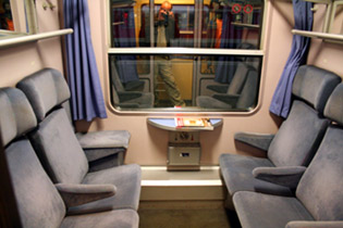 Seats compartment on a City Night Line sleeper train
