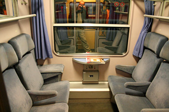 Seating compartment on the overnight train from Amsterdam to Prague