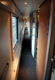 The corridor in a Comfortline sleeping-car