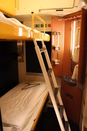 Stadard 2-bed sleeper on the train from Amsterdam to Prague