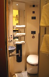 City Night Line deluxe sleeper, private toilet & shower