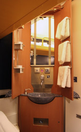Standard sleeper compartment, washstand