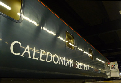 The Caledonian Sleeper train from London to Scotland...