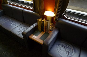 Leather sofas in the Caledonian Sleeper lounge
