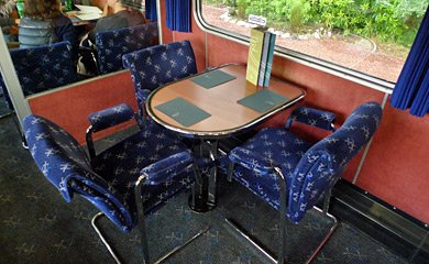 Caledonian Sleeper lounge car table for 3