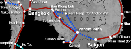 Cambodia bus & train route map