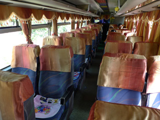 Interior of Mekong Express bus from HCMC to Phnom penh