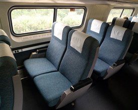 Amtrak trains:  Seats in an Amfleet car