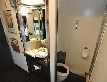 Washbasin & toilet in a bedroom on the Toronto-Vancouver train