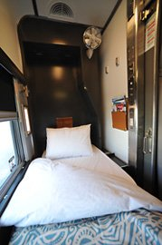 Single-bed roomette on VIA Rail's 'Canadian', in night mode
