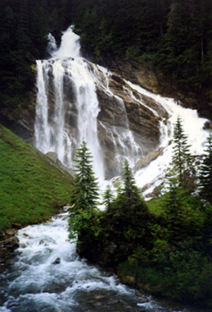 Pyramid Falls, seen on the Rocky Mountaineer Vancouver-Jasper route