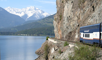 Rocky Mountaineer passing Anderson Lake