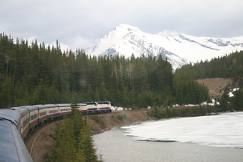 The Rocky Mountaineer alongside the Bow River