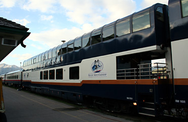 One of Rocky Mountaineer's double-deck Gold Leaf dome cars