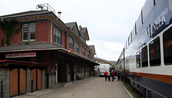 The Rocky Mountaineer stops overnight at Kamloops