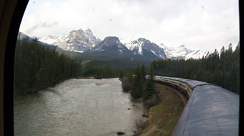 Rocky Mountaineer at Morant's Curve near Lake Louise