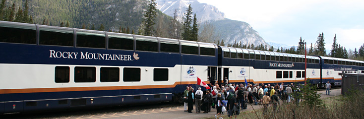 The Rocky Mountaineer train boarding at Banff