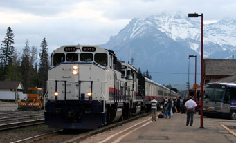 Canada's most scenic train journey:  The Rocky Mountaineer ready to leave Banff, bound for Vancouver