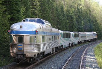 VIA Rail's 'Skeena' seen soon after leaving Jasper