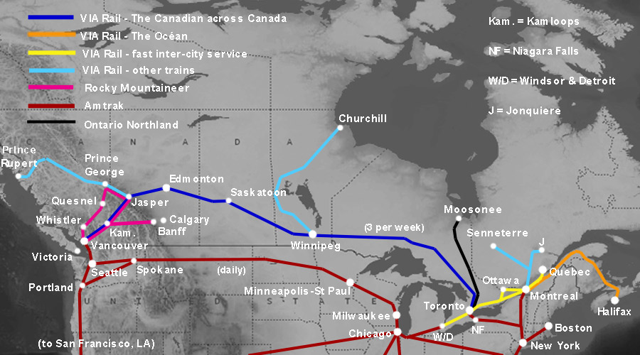 Train travel across Canada – Train Travel Usa Map