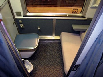 A single-bed roomette on the 'Canadian' from Toronto to Vancouver