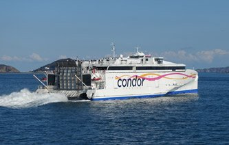 Condor Liberation fast ferry leaving Guernsey for Jersey