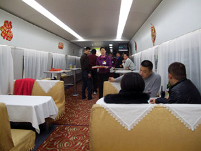 Restaurant car on Beijing-Shanghai train.