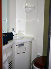 Private toilet / washroom in deluxe 2-berth sleeper, 'Z' train Beijing to Shanghai & Xian