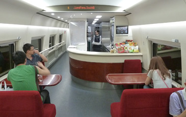 Restaurant car on the Beijing to Xian high-speed train