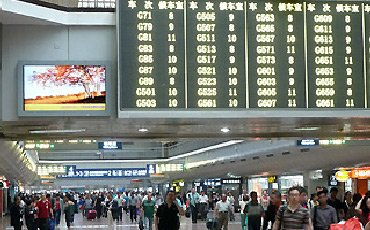 Main indicator board inside Bejing West station