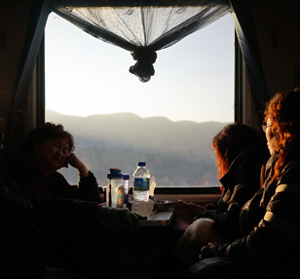 Hekou to Kunming train in the mountains of Yunnan Province