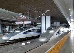 High-speed CRH380 trains run on the new Beijing to Shanghai line