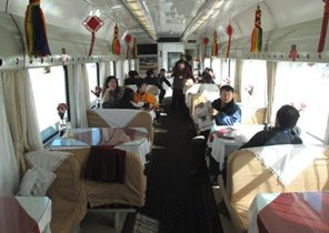 Restaurant car on the train from Beijing to Tibet.