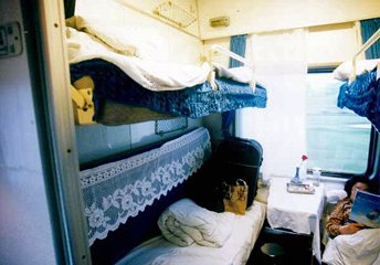 Soft class 4-bed compartment in Chinese T or K category train...