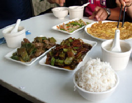 A Chinese meal in the restaurant car of the Hong Kong to Beijing train