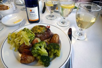 Pullman dining:  Beef steak main course