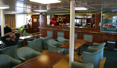The bar on the ferry to the Scilly isles.