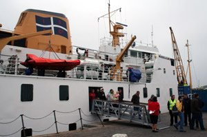 Disembarking from the ferry Scillonian III at St Marys on the Scilly Isles