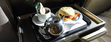 Breakfast served in your sleeper compartment next morning