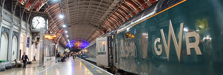 The sleeper to Cornwall about to leave London Paddington