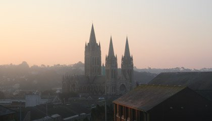 Truro Cathedral, seen from the Night Riviera sleeper train just arriving from London