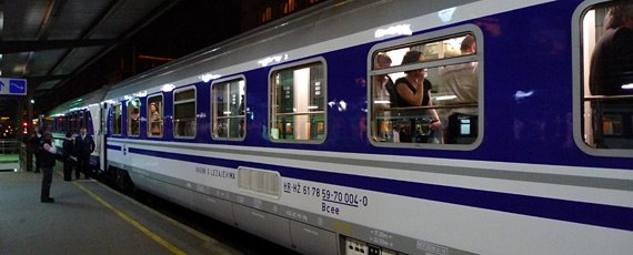 Couchette car on Munich to Zagreb train, at Munich