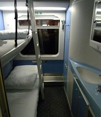 Sleeper compartment in the Croatian sleeping-car from Munich to Zagreb